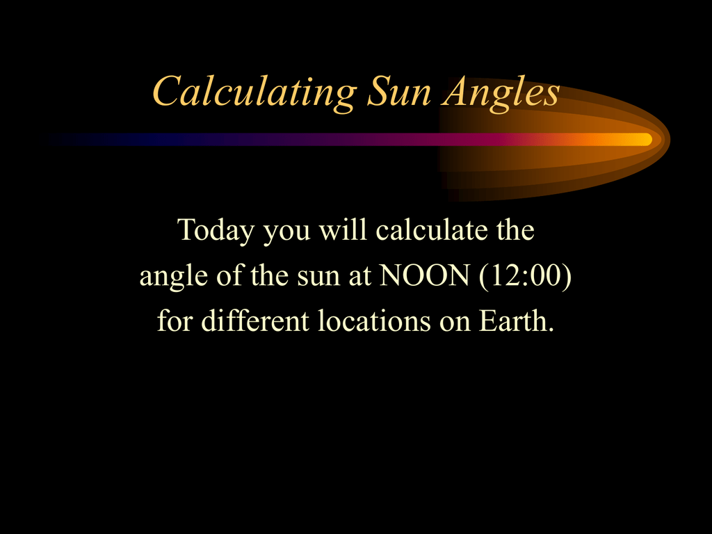 What is the solar declination angle?